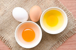 Different fresh eggs and duck eggs. Stock Images
