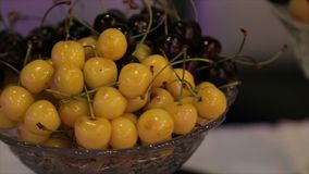 Different fresh fruits on wedding buffet table. Fruits and berries Wedding table decoration. Buffet reception fruit Royalty Free Stock Images