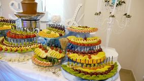 Different Fresh Fruits On Wedding Buffet Table. Fruits And Berries ...