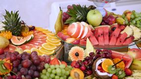 Different fresh fruits on wedding buffet table. Fruits and berries Wedding table decoration. Buffet reception fruit Royalty Free Stock Photos