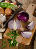 Different fresh onions on a wooden cutting board Stock Images
