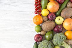 Different fresh organic fruits and vegetables with copy space. Top view. Flat lay Royalty Free Stock Photo