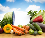 Different fresh vegetables with empty paper Royalty Free Stock Photos