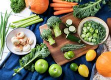 Different fresh vegetables and fruits Stock Photos