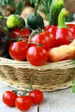 Different fresh vegetables in a wicker basket Stock Image