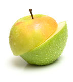 Different fruit. Apple two-piece different fruit. Isolation, shallow DOF Royalty Free Stock Images