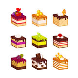Different  fruit cake slices. Set with different  fruit cake slices. Different taste and color. Pieces of cake. Vector illustration. Isometry Stock Photography
