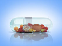 Different fruit in capsule healthy diet concept 3d render on g b. Lue Royalty Free Stock Image