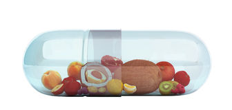 Different fruit in capsule healthy diet concept 3d render no sha. Dow Royalty Free Stock Photos