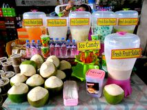 Different fruit juice and refreshments in Market Market in Bonifacio Global City Royalty Free Stock Image
