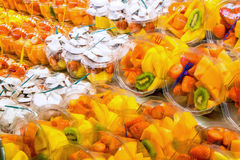 Different fruit salads for sale Stock Images