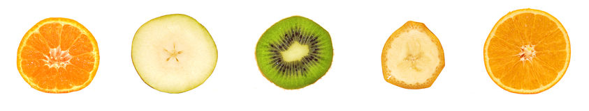 Different fruit slices. Kiwi, mandarin and pear Royalty Free Stock Photo