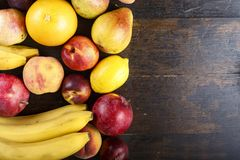 Different fruit space for text royalty free stock photos