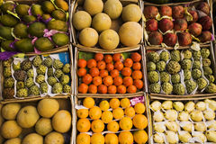 Different fruits. In boxes on a counter of street shop in Egypt Stock Image