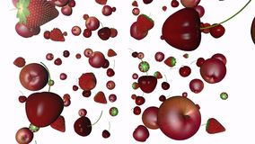 Different fruits. Apples cherries and strawberries in a video stock footage