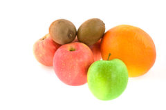 Different fruits: apples, grapefruit, kiwi-fruits Stock Images