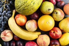 Different fruits as background stock photography