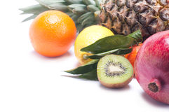 Different fruits. Background of different fruits on a white background royalty free stock images
