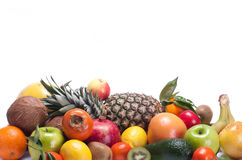Different fruits. Background of different fruits on a white background stock images