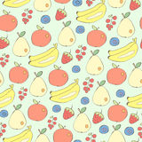 Different fruits and berries seamless vector background Stock Photography