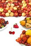 Different fruits closeup on white background Royalty Free Stock Photos