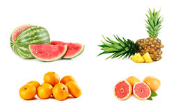 Different fruits. Collage of different fruits on white background royalty free stock images