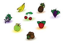 Different fruits collection Royalty Free Stock Photo
