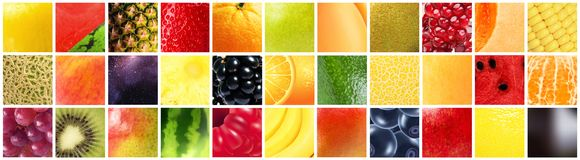 Different fruits with different textures, patterns and colors.  stock photography