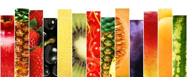 Different fruits with different textures, patterns and colors.  royalty free stock images