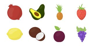 Different fruits icons in set collection for design. Fruits and vitamins vector symbol stock web illustration. Different fruits icons in set collection for Stock Photography