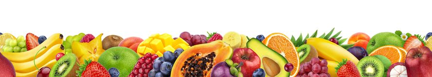 Different fruits isolated on white background with copy space, border made of fruits and berries stock image