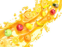 Different fruits and juice splashes. multifruit juice Royalty Free Stock Image