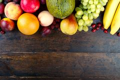Different fruits place for text stock photography