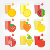 Different fruits and vegetables by colours. Vector modern illustration, stylish design element Royalty Free Stock Images