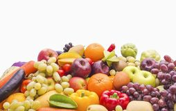 Different Fruits and vegetables organic for healthy on white Royalty Free Stock Images