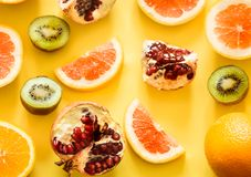 Fruit on a yellow background stock images