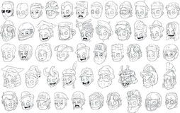 Different funny cartoon black and white characters heads. For coloring big vector set Royalty Free Stock Photography