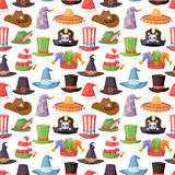 Different funny hats for party and holidays masquerade vector seamless pattern Stock Images
