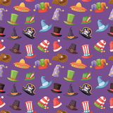 Different funny hats for party and holidays masquerade vector seamless pattern Royalty Free Stock Photos