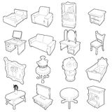 Different furniture icons set, outline style. Different furniture icons set. Outline cartoon illustration of 16 different furniture vector icons for web Stock Image