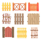 Different garden wooden fences and gates set, rural hedges vector Illustrations Royalty Free Stock Photos