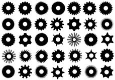Different gear shapes. Isolated on white royalty free illustration