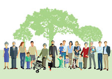 Different generations of people. Illustration of different generations of people stood in a park with trees in the background Stock Images