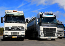 Different Generations of Volvo FH Truck Parked in a Row Stock Photo