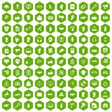 100 different gestures icons hexagon green. 100 different gestures icons set in green hexagon isolated vector illustration Stock Photography
