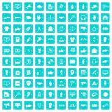 100 different gestures icons set grunge blue. 100 different gestures icons set in grunge style blue color isolated on white background vector illustration Stock Images