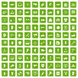 100 different gestures icons set grunge green. 100 different gestures icons set in grunge style green color isolated on white background vector illustration Royalty Free Stock Photos