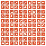 100 different gestures icons set grunge orange. 100 different gestures icons set in grunge style orange color isolated on white background vector illustration Stock Photos