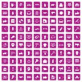 100 different gestures icons set grunge pink. 100 different gestures icons set in grunge style pink color isolated on white background vector illustration Royalty Free Stock Photos