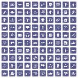 100 different gestures icons set grunge sapphire. 100 different gestures icons set in grunge style sapphire color isolated on white background vector Royalty Free Stock Photos